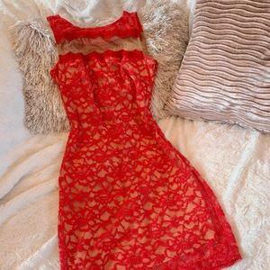 Bailey 44 red, lace, body con dress
